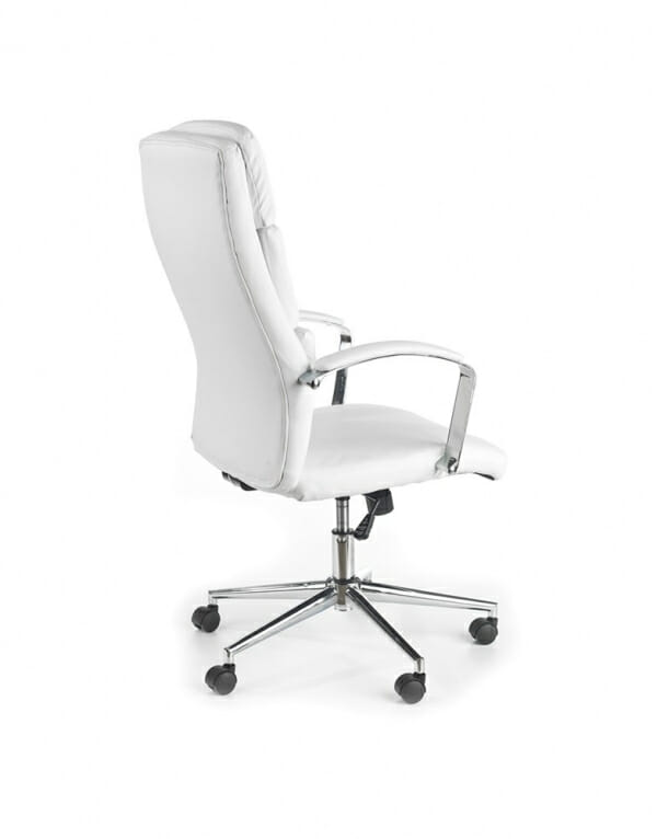 Бял офис стол от метал и еко кожа Аурес - гръб