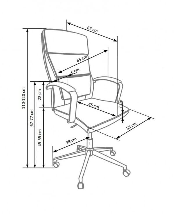Бял офис стол от метал и еко кожа Аурес - схема