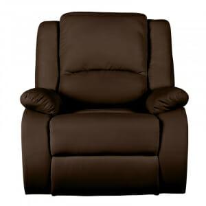 Кожен фотьойл с релакс механизъм-кафяв