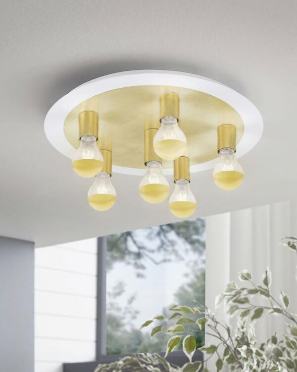 Кръгъл LED плафон в златисто Passano - размер 2 - декор