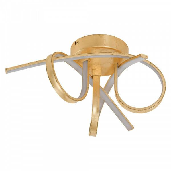 Златист LED плафон с 3 извити рамена Miraflores
