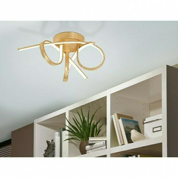 Златист LED плафон с 3 извити рамена Miraflores - декор