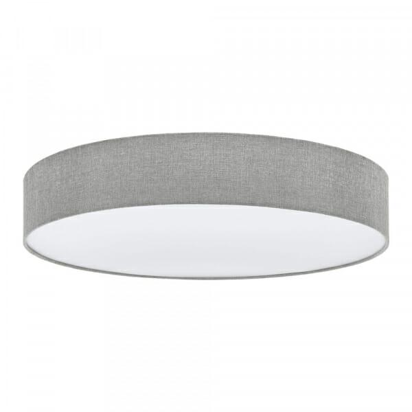 Модерен кръгъл плафон от текстил Pasteri в сив лен