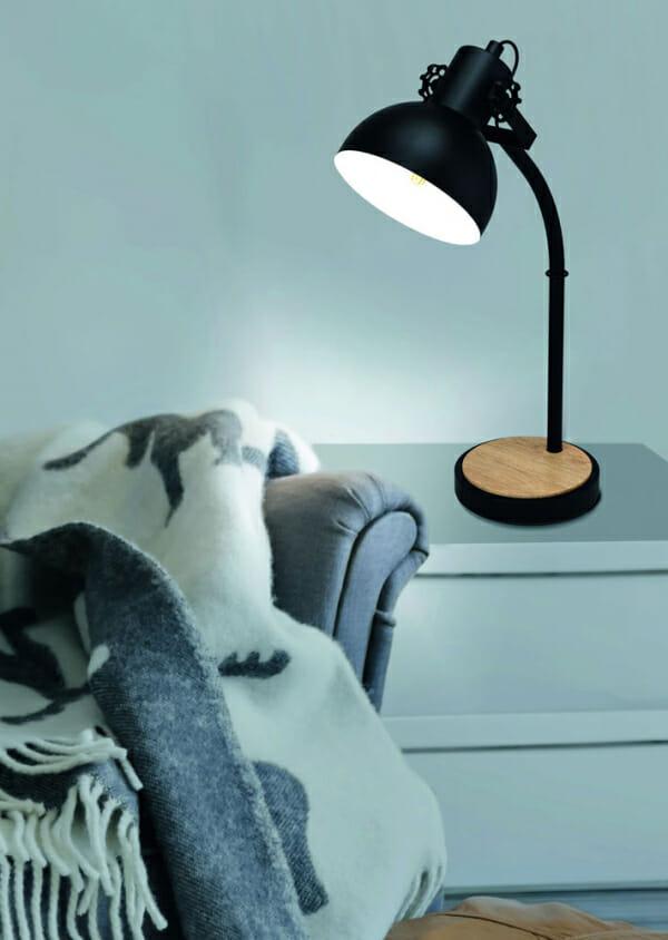 Нощна лампа от дърво и черен метал Lubenham - декор