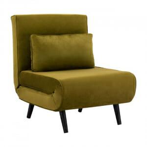 Разтегателно кресло с кадифена дамаска-маслина