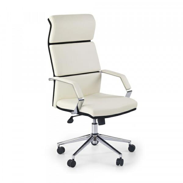 Стилен офис стол от бяла и черна еко кожа с tilt механизъм