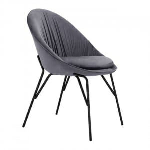 Трапезен стол в сиво кадифе и метална основа