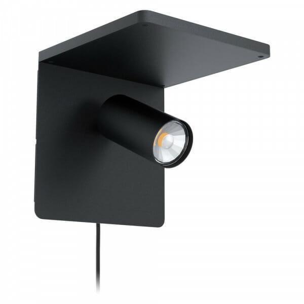 Черен LED аплик с безжично зарядно за телефон Ciglie