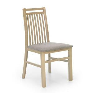 Дървен стол с класическа визия и сива дамаска-дъб сонома