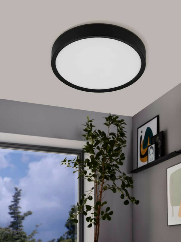 Кръгъл LED плафон в черно и бяло Musurita