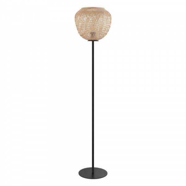 Лампион от черен метал с шапка от плетено дърво Dembleby