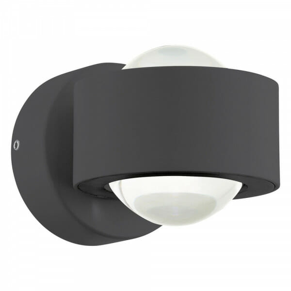 LED аплик с кръгла форма и пръстен Ono 2 в черен цвят