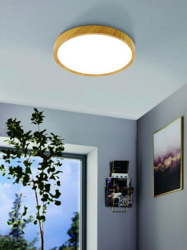 LED плафон в бял и дървесен цвят Musurita - размер 2 - интериор