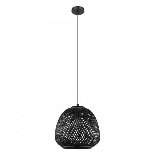 Пендел с дървен решетъчен абажур Dembleby в черен цвят