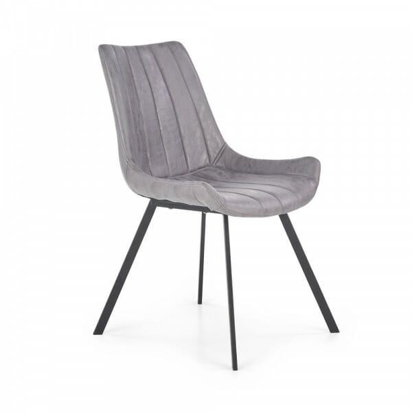 Сив трапезен стол с дамаска от еко кожа