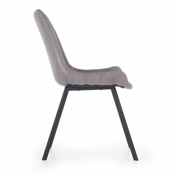 Сив трапезен стол с дамаска от еко кожа - странично