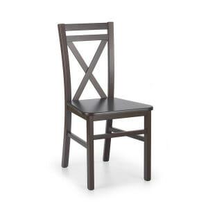 Трапезен дървен стол с интересна облегалка-тъмен орех