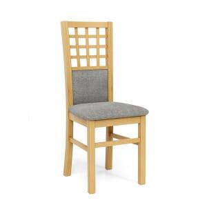 Трапезен стол с дървени крака от бук и текстилна дамаска-меден дъб